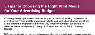 5 Top Tips for Choosing the Right Print Media for Your Advertising Budget